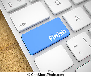 Finish - Text on Blue Keyboard Keypad. 3D.