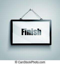 finish text sign