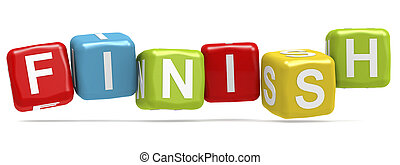 Finish word concept on cube block isolated