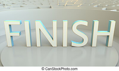 FINISH word in the center of a round maze. 3D rendering