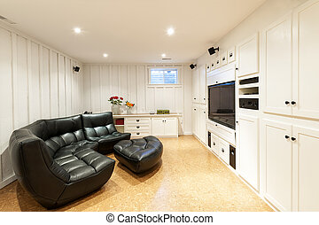 Finished basement in house - Finished basement of...