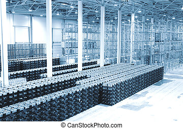 Finished goods warehouse at plant on production of mineral water