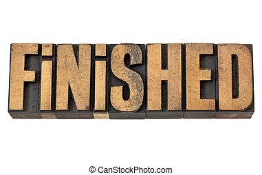 finished word in letterpress wood type