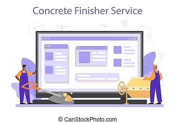 finisher, construtor, online, serviço, platform., concreto, ou