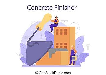 finisher, preparar, profissional, trabalhador, builder., concreto