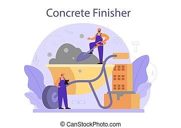 finisher, trabalhador, preparar, concreto, profissional, builder.