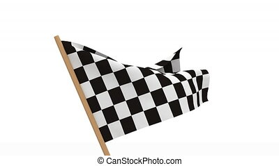 finishing checkered flag on white background. 3D image...