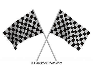 finishing checkered flag on white background. Isolated 3D...