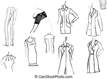 finishing details of women dresses - sketch of fashion model...