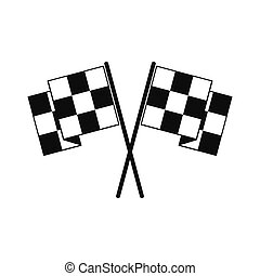 Finishing flags black simple icon isolated on white...