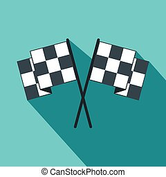 Finishing flags flat icon. Car racing black and white flags...