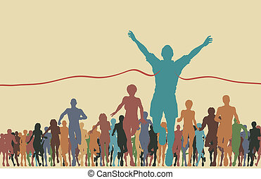 Colorful editable vector illustration of a man winning a race