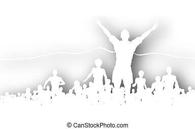 Finishing line cutout - Editable vector cutout of a man...