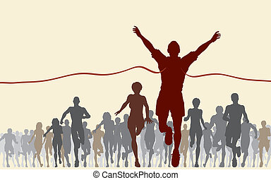 Finishing line - Editable vector illustration of a man ...