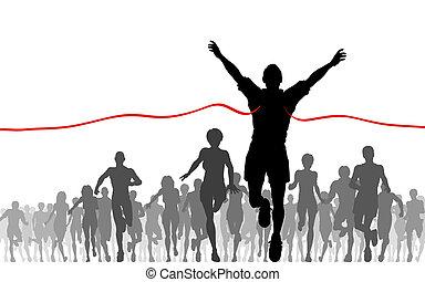 Finishing line - Illustration of a man winning a race