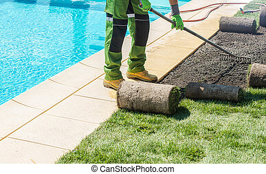 Finishing Outdoor Pool Surrounding by Installing New Grass