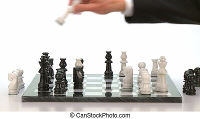 checkmate - finishing scene of businessman playing chess,...