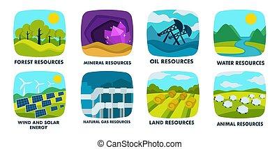 finite, risorse, naturale, rinnovabile, ecologia, fonti, icone, isolato, o