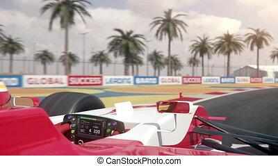 finition, conduite, piste, une, travers, course, formule,...