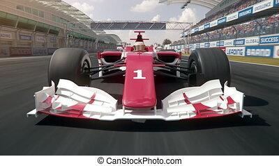 finition, conduite, voiture, une, course, formule, ligne, travers
