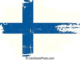finlandés, rasguñado, bandera