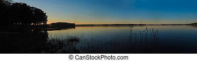 finland, 日落, 湖, saimaa