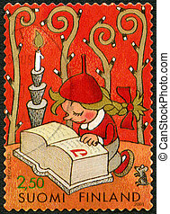 FINLAND - 2001: shows little elf girl with plaited hair reading Santa's thick ABC-book, designed by Pekka Vuori