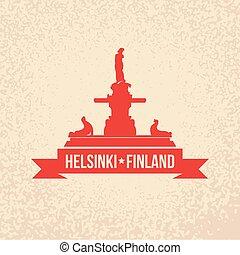 finland, apartamento, conceito, painél publicitário, bandeira, teia, helsínquia, amanda, símbolo, havis, local., apresentação, turismo, ou, simples