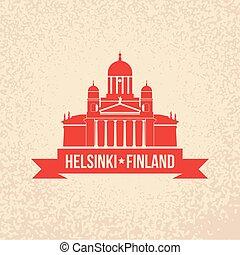 finland, apartamento, conceito, painél publicitário, bandeira, teia, helsínquia, símbolo, local., apresentação, catedral, turismo, ou, simples