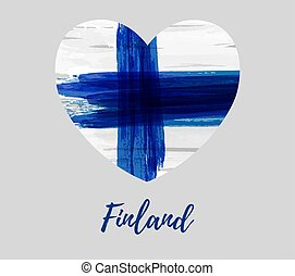 Finland background with flag heart