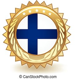 Finland Badge - Gold badge with the flag of Finland.