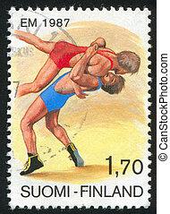 FINLAND - CIRCA 1987: stamp printed by Finland, shows European Wrestling Championships, circa 1987