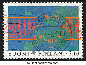Europa - FINLAND - CIRCA 1991: stamp printed by Finland,...