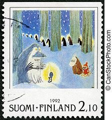 FINLAND - CIRCA 1992: A stamp printed in Finland shows Moomin Cartoon Characters, by Tove Jansson: Winter scene in forest, circa 1992