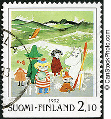 FINLAND - CIRCA 1992: A stamp printed in Finland shows Moomin Cartoon Characters, by Tove Jansson: Characters on beach, circa 1992