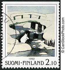 FINLAND - CIRCA 1992: A stamp printed in Finland shows Moomin Cartoon Characters, by Tove Jansson: Winter scene, ice covered bridges, circa 1992