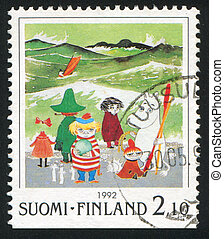 Moomin characters - FINLAND - CIRCA 1992: stamp printed by...