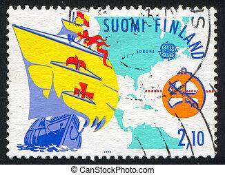 FINLAND - CIRCA 1992: stamp printed by Finland, shows Santa Maria, map, circa 1992