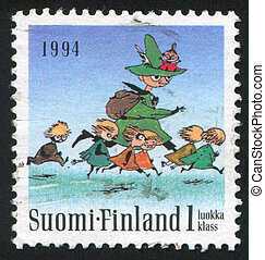 Moomin characters - FINLAND - CIRCA 1994: stamp printed by...
