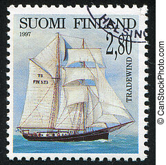 Shipping - FINLAND - CIRCA 1997: stamp printed by Finland,...
