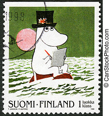 FINLAND - CIRCA 1998: A stamp printed in Finland shows Moomin Cartoon Characters, by Tove Jansson: Boy Moomin drawing with pad and pencil, circa 1998