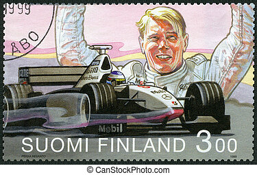 FINLAND - CIRCA 1999: A stamp printed in Finland shows Mika...