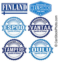 Finland cities stamps