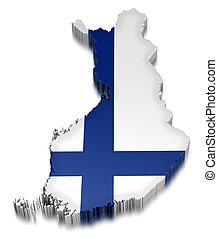 Finland (clipping path included) - Map of Finland. 3d render...