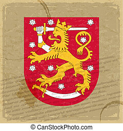 Finland coat of arms on an old sheet of paper