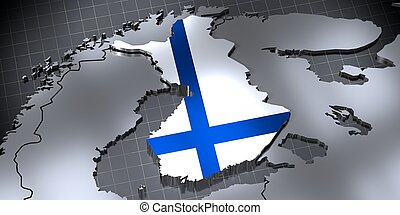 Finland - country borders and flag - 3D illustration