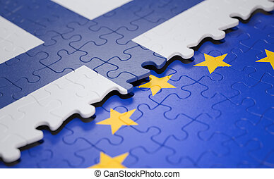 Finland European Union Puzzle Flag