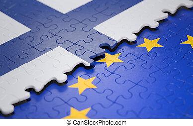 Finland European Union Puzzle Flag