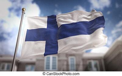 Finland Flag 3D Rendering on Blue Sky Building Background