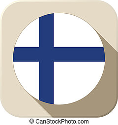 Finland Flag Button Icon Modern